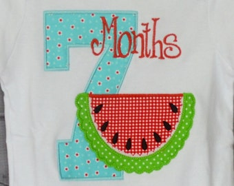 Personalized Watermelon Birthday Month Milestone Anniversary Applique Shirt or Bodysuit Girl or Boy