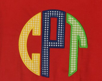 Personalized Circle Monogram Applique Shirt or Bodysuit for Boy or Girl