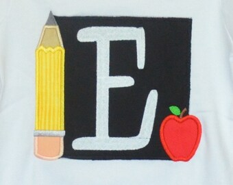 Personalized Chalkboard with Apple & Pencil Applique Shirt or Bodysuit Girl or Boy