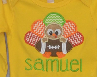 Personalized Turkey with Football Monogram Applique Shirt or Bodysuit for Boy or Girl