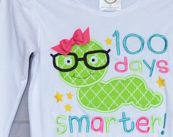 100 Days of School Smarter Applique Shirt or Bodysuit Boy or Girl