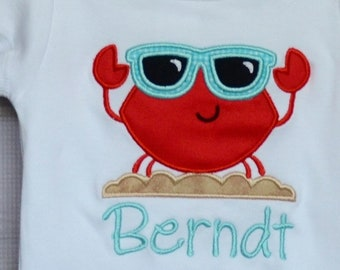 Personalized One Cool Crab with Sunglasses Applique Shirt or Bodysuit Boy or Girl
