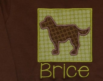 Personalized Big Dog Applique Shirt or Bodysuit Girl or Boy
