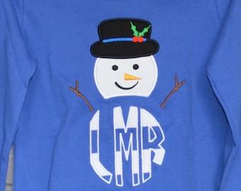 SnowMan with Hat Monogram Applique Shirt or Bodysuit Boy or Girl
