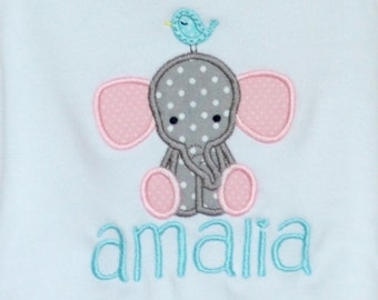 Personalized Baby Elephant with Bird Applique Shirt or bodysuit Girl