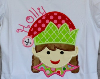 Christmas Elf Applique Shirt or Bodysuit Boy or Girl