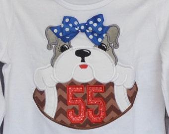 Personalized Football Team Mascot Bulldog Tiger Elephant Hound Dog Gator Applique Shirt or bodysuit