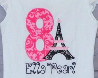 Personalized Pink Paris Eiffel Tower Birthday Applique Shirt or Bodysuit Girl