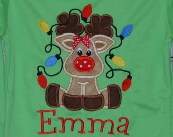 Reindeer with Christmas Lights Applique Shirt or Bodysuit Boy or Girl
