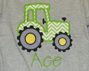 Personalized Tractor Applique Shirt or Bodysuit Boy or Girl
