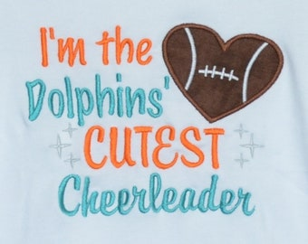 Personalized Football Dolphins Fans Are Cuter Applique Shirt or Bodysuit