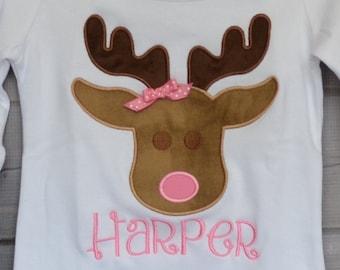 Reindeer Applique Shirt or Bodysuit Boy or Girl