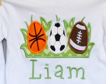 Personalized Easter Sports Eggs Applique Shirt or Bodysuit Girl or Boy