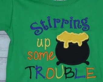 Personalized Halloween Witch's Cauldron Stirring Up Some Sparkle or Trouble Applique Shirt or Bodysuit for Boy or Girl
