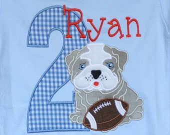 Personalized Birthday Bulldog with Football Sports Applique Shirt or Bodysuit Girl or Boy