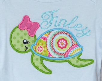 Personalized Sea Turtle Applique Shirt or Bodysuit Girl