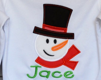 Snow Man Girl with Hat & Scarf Applique Shirt or Bodysuit Boy or Girl
