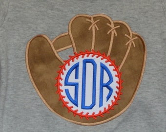 Personalized Baseball and Glove with Initials monogram Applique Shirt or Bodysuit Girl or Boy
