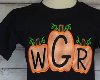 Personalized Pumpkins with initials Applique Shirt or Bodysuit for Boy or Girl