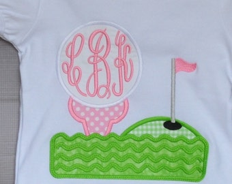 Personalized Golf Tee Monogram Applique Shirt or Bodysuit Boy or Girl