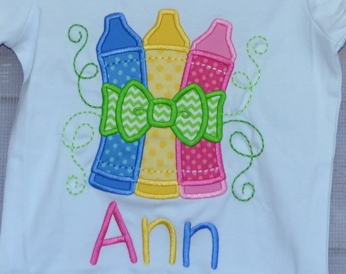 Featured listing image: Personalized Crayons with Bow Applique Shirt or Bodysuit Girl or Boy
