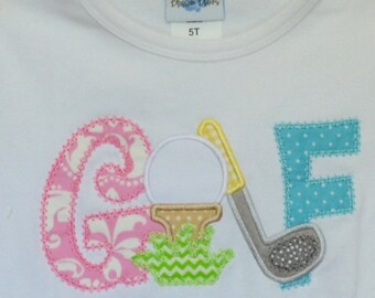 Personalized Golf Club Ball Tee Monogram Applique Shirt or Bodysuit Boy or Girl