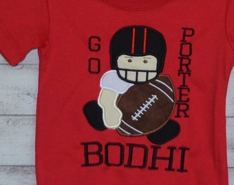 Personalized Football Team Player Boy Applique Shirt or Bodysuit