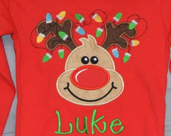 Reindeer with Christmas Lights Applique Shirt or Bodysuit Boy or Girl