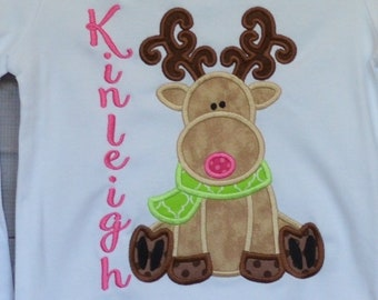 Girly Reindeer with Scarf Applique Shirt or Bodysuit Boy or Girl