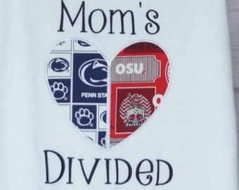Personalized House Heart Divided Football Team Applique Shirt or bodysuit Choose Your Teams & Colors