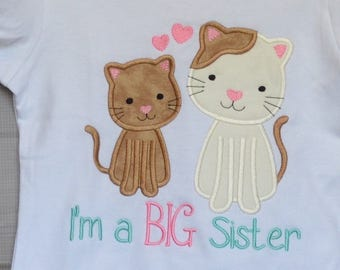 Personalized Big Little Brother Big Little Sister Kitty Cats Applique Shirt or Bodysuit Girl or Boy