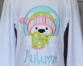 Winter Polar Bear with Hat & Scarf Applique Shirt or Bodysuit Boy or Girl