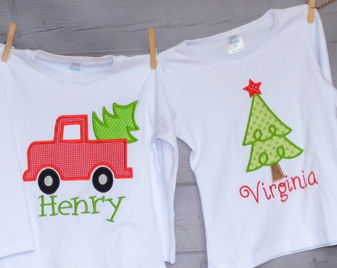 Featured listing image: Christmas Tree or Truck with Tree Applique Shirt or Bodysuit Boy or Girl