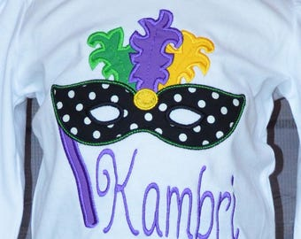 Personalized Mardi Gras Mask with Feathers Applique Shirt or Bodysuit Girl or Boy