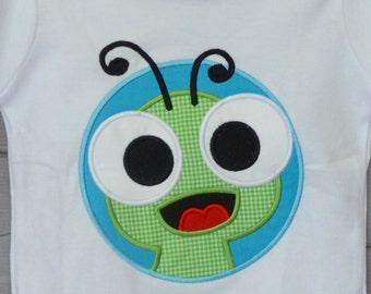 Personalized  Big Eyed Bug Snail Bug Firefly GrassHopper Patch Worm Applique Shirt or Bodysuit Boy or Gir