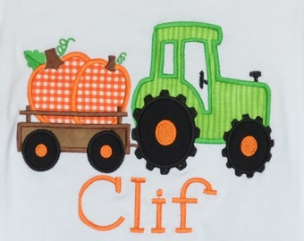 Personalized Tractor with Pumpkin Applique Shirt or Bodysuit for Boy or Girl