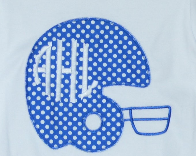 Featured listing image: Personalized Football Helmet with Initials Applique Shirt or Bodysuit