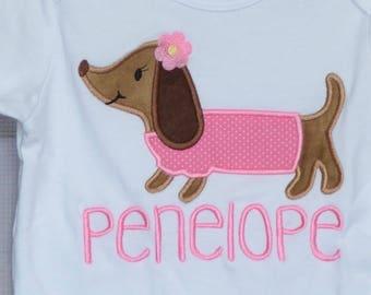 Personalized Dog Dachshund Applique Shirt or Bodysuit Boy or Girl