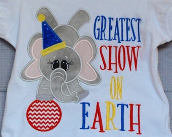 Personalized Circus Elephant Balancing on Ball Applique Shirt or Bodysuit Girl or Boy