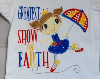 Personalized Circus Tight Rope Walker Applique Shirt or Bodysuit Girl or Boy