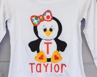 Christmas Penguin Applique Shirt or Bodysuit Boy or Girl Choose your color!