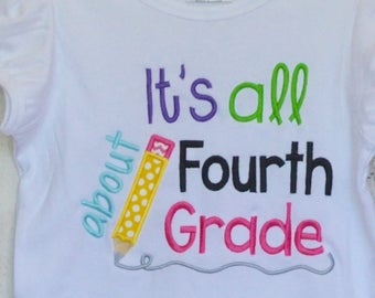 Personalized It's All About Fourth Grade Applique Shirt or Bodysuit Girl or Boy