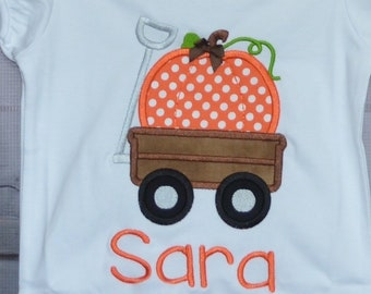 Personalized Wagon with Pumpkin Applique Shirt or Bodysuit for Boy or Girl