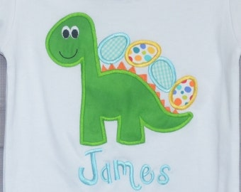 Personalized Easter Dinosaur with Egg Applique Shirt or Bodysuit Girl or Boy