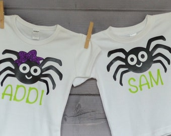 Personalized Halloween Girly Spider with Bow or Boy Spider Heat Press Vinyl Shirt or Bodysuit for Boy or Girl