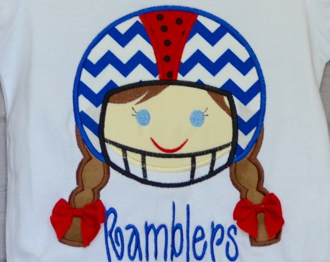 Featured listing image: Personalized Football Helmet Girl Choose your Team Colors Applique Shirt or Bodysuit