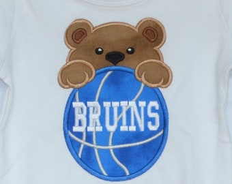 Personalized Basketball Bear Face Applique Shirt or Bodysuit