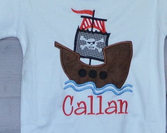 Personalized Pirate Ship Applique Shirt or Bodysuit Boy or Girl