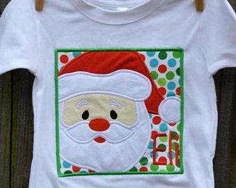 Santa Claus Patch Applique Shirt or Bodysuit Boy or Girl