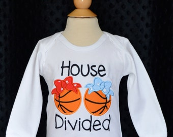 Personalized House Divided Basketball Team Applique Shirt or Bodysuit Choose Your Teams & Colors